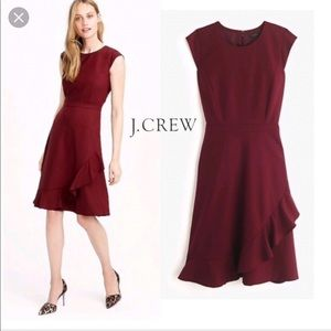 NWOT J. Crew Wool Crepe Ruffle Hem A-line Dress 0